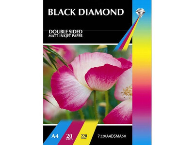 BLACK DIAMOND MATT PHOTO PAPER A4 220GM 50PK