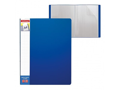 ERICHKRAUSE DISPLAY BOOK + SPINE POCKET CLASSIC 10 POCKETS A4 BLUE