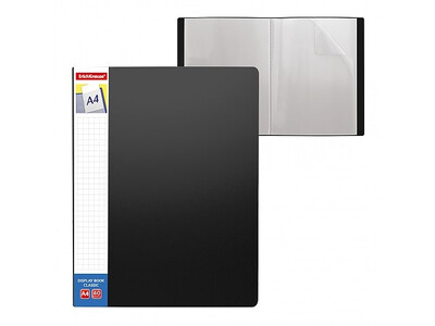ERICHKRAUSE DISPLAY BOOK + SPINE POCKET CLASSIC 40 POCKETS A4 BLACK