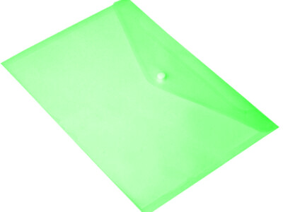 PVC A4 BAG WITH BUTTON GREEN
