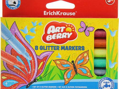 ERICHKRAUSE ARTBERRY FIBRE-TIP PENS GLITTER EASY WASHABLE 8 COLORS