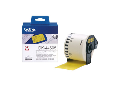 BROTHER YELLOW REMOVABLE ADHESIVE CONTINUOUS PAPER TAPE 62MM X 30.48M