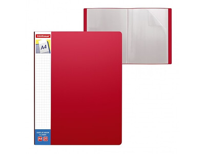 ERICHKRAUSE DISPLAY BOOK + SPINE POCKET CLASSIC 20 POCKETS A4 RED