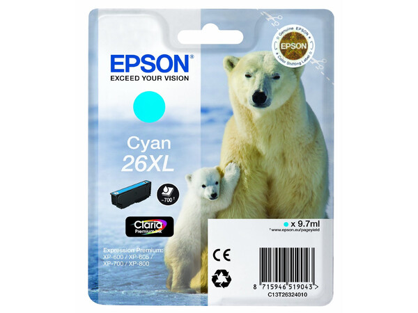 EPSON T26XL T2632 ORIGINAL XL CYAN INK