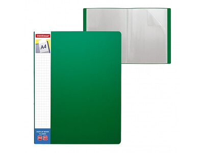 ERICHKRAUSE DISPLAY BOOK + SPINE POCKET CLASSIC 40 POCKETS A4 GREEN